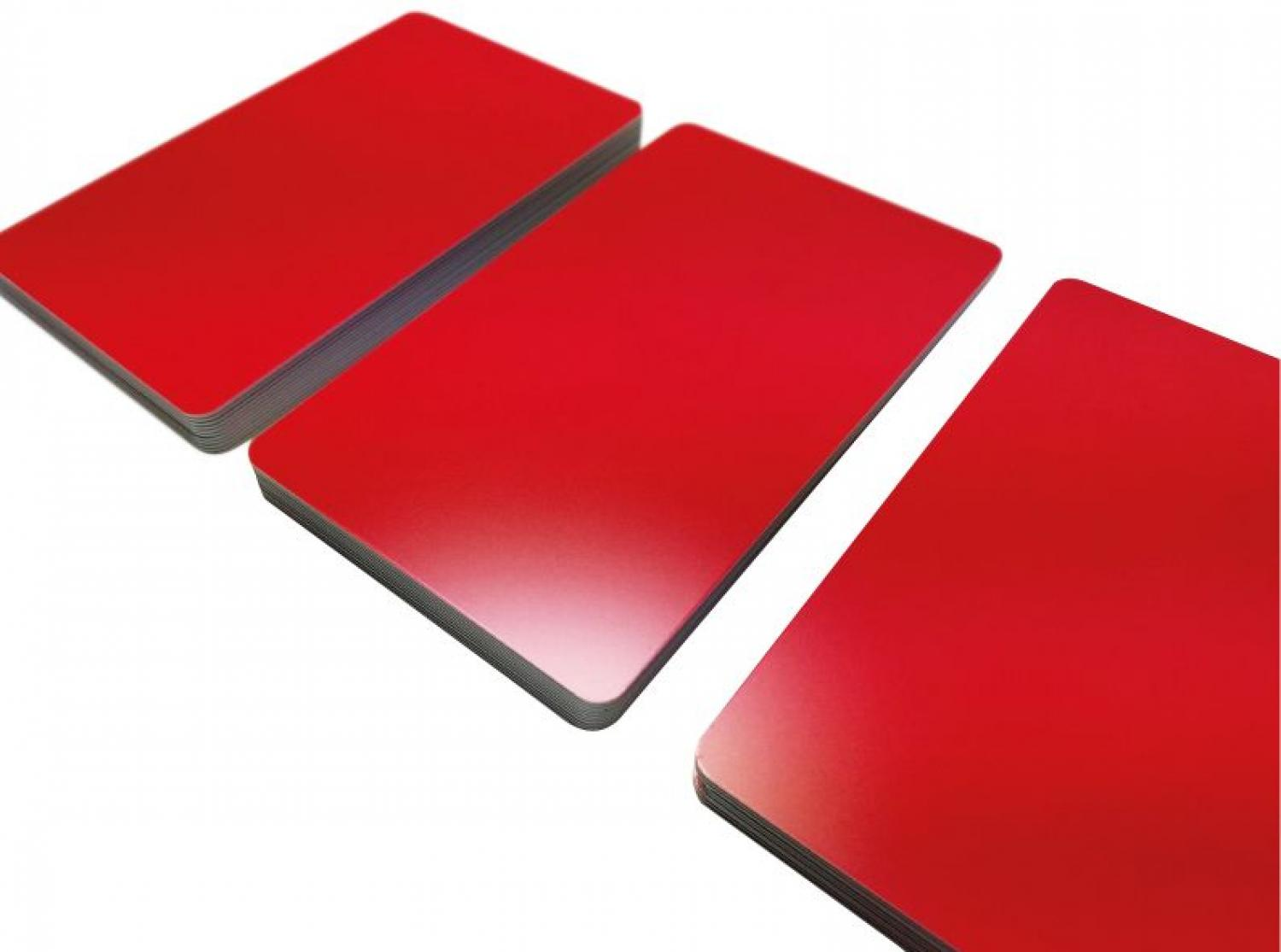 plastic card red matt finish